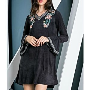THML Suede Floral Embroidered Tunic Dress